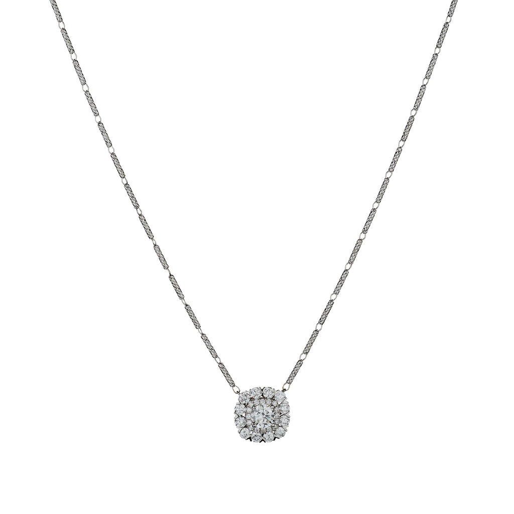 ROUND BRILLIANT CUT DIAMOND HALO NECKLACE