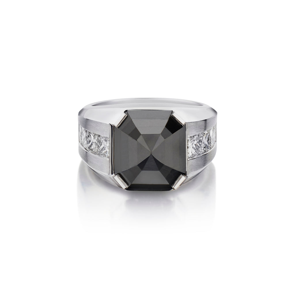 BLACK DIAMOND & PRINCESS CUT DIAMOND RING