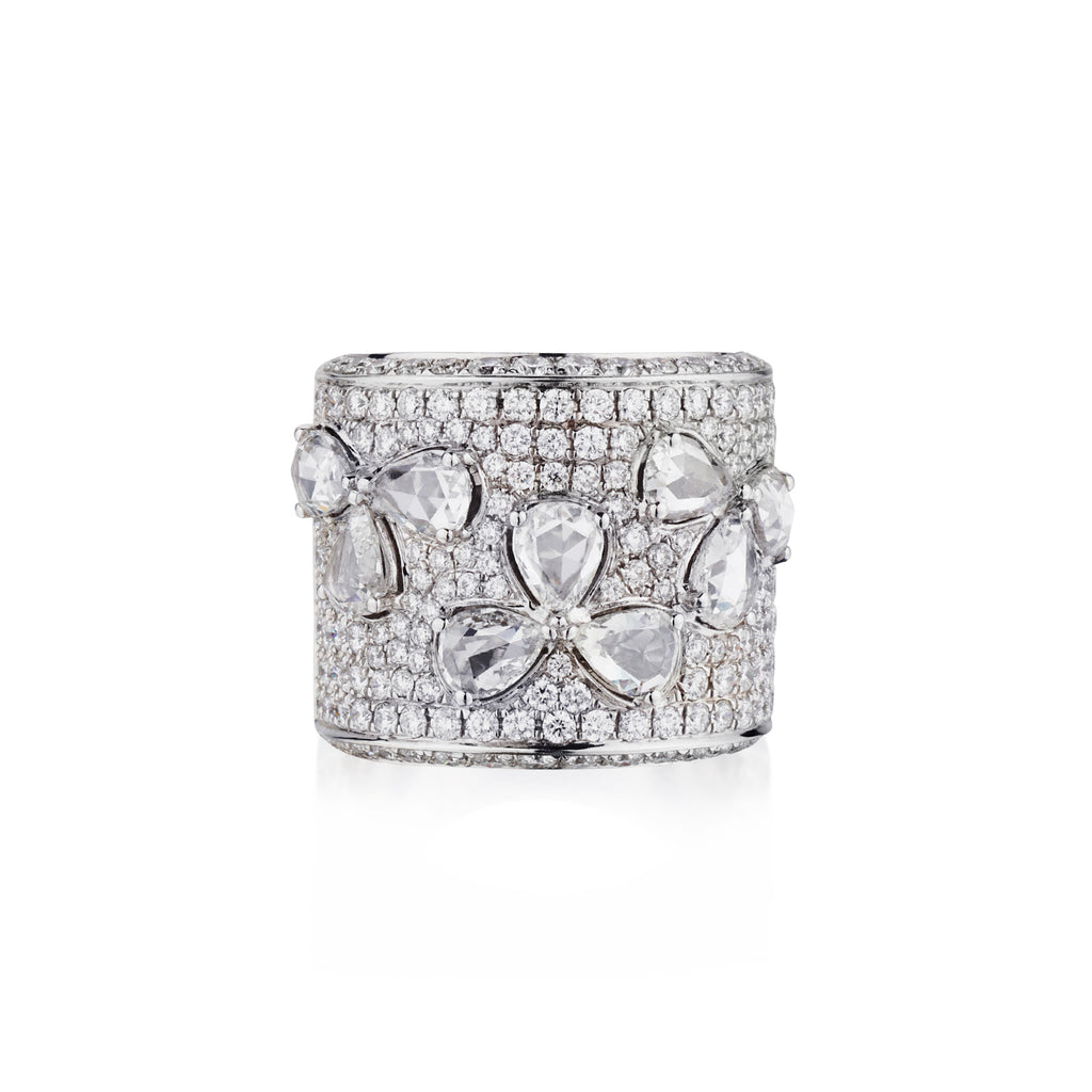 ROSE CUT FLORAL DIAMOND RING ON DIAMOND BAND