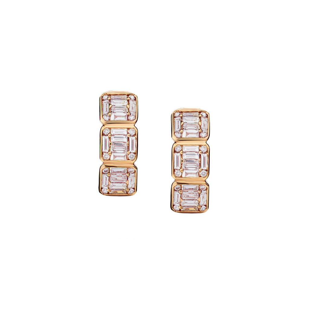 BAGUETTE & ROUND DIAMOND HUGGIE EARRINGS