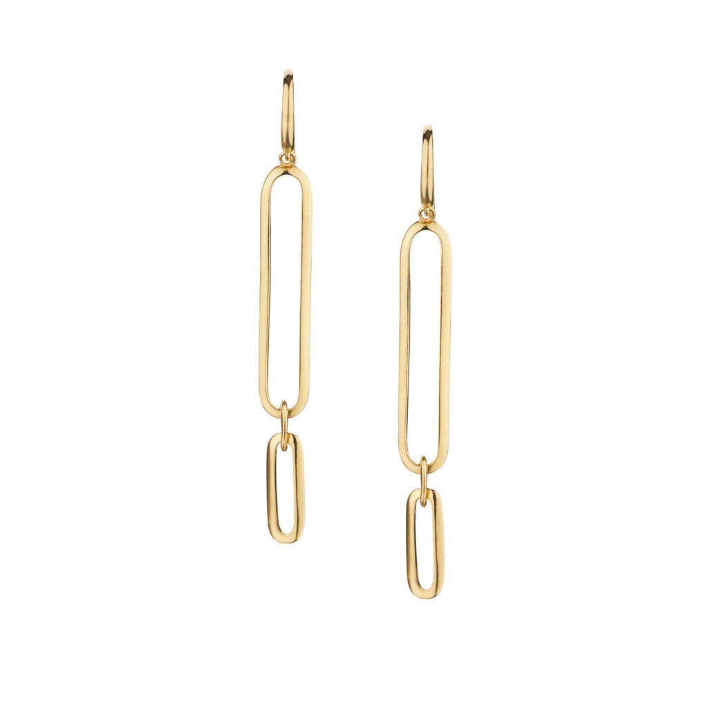 LONG OVAL LINK EARRINGS