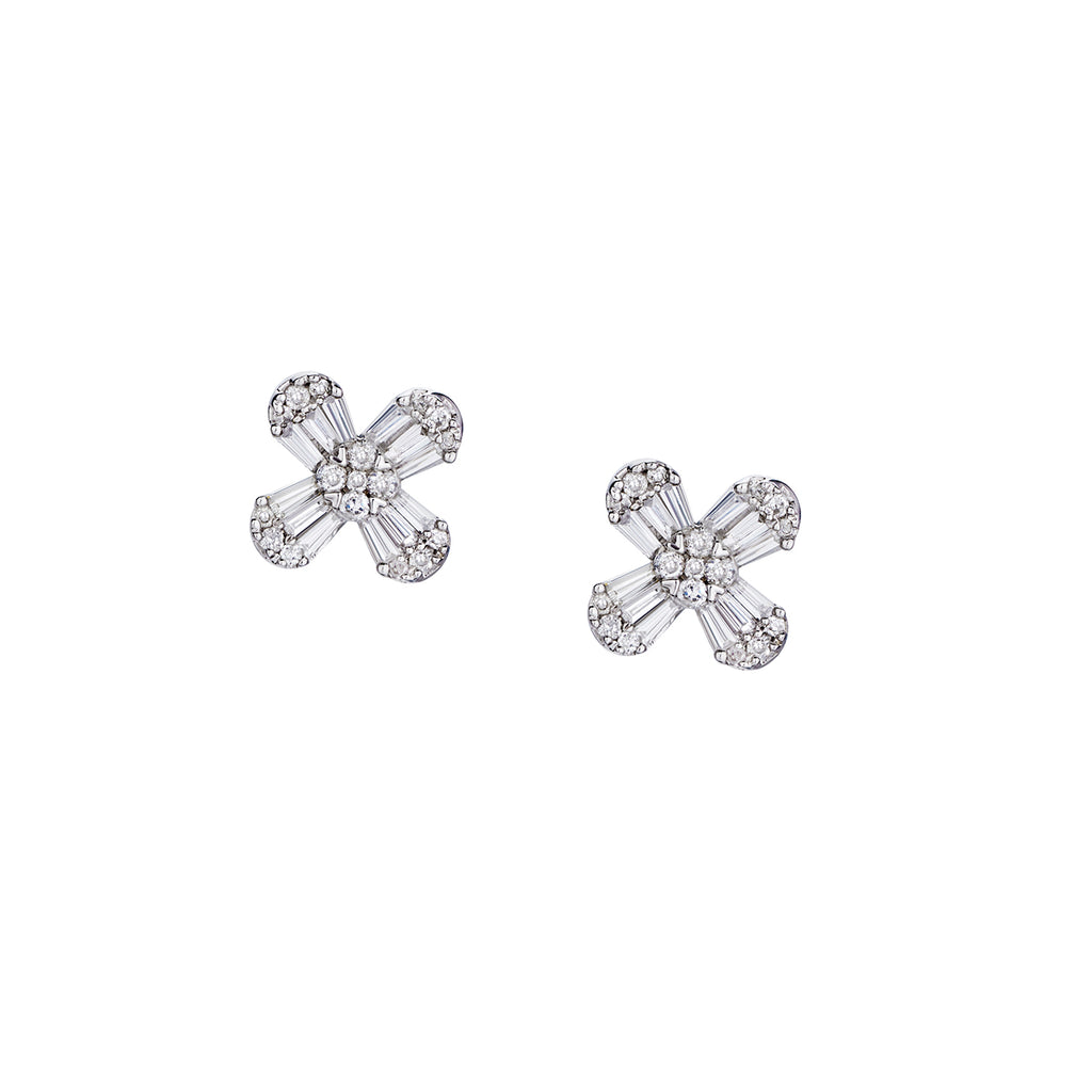 BAGUETTE & DIAMOND FLOWER STUDS
