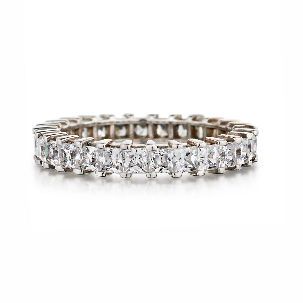 Shared Claw Princess Cut Diamond Eternity Band