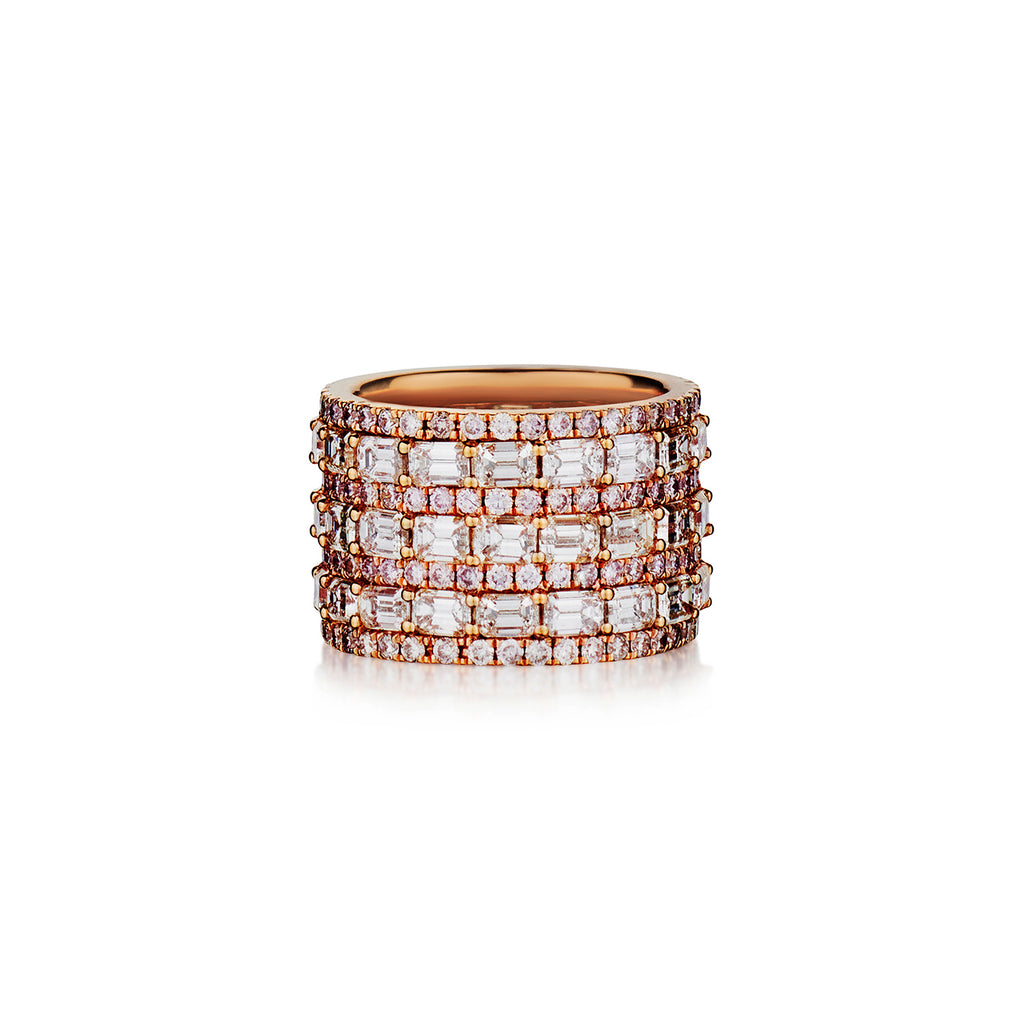 EMERALD CUT AND PINK DIAMOND TRIPLE ROW BAND