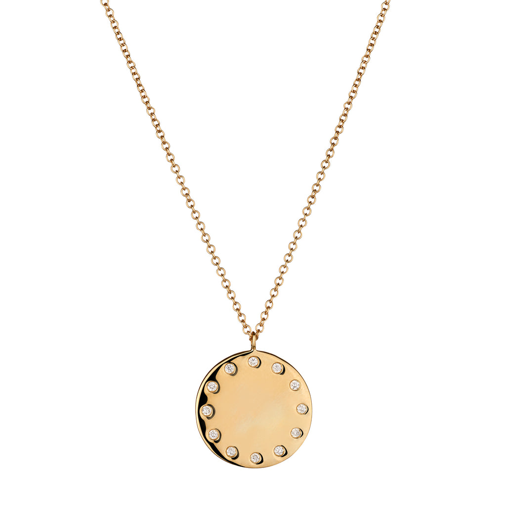 DIAMOND STUDDED DISC NECKLACE