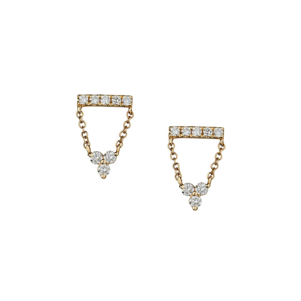 DIAMOND BAR & CHAIN EARRINGS