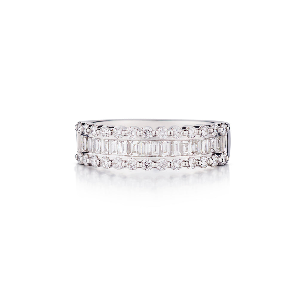 BAGUETTE & ROUND HALF DIAMOND ETERNITY BAND