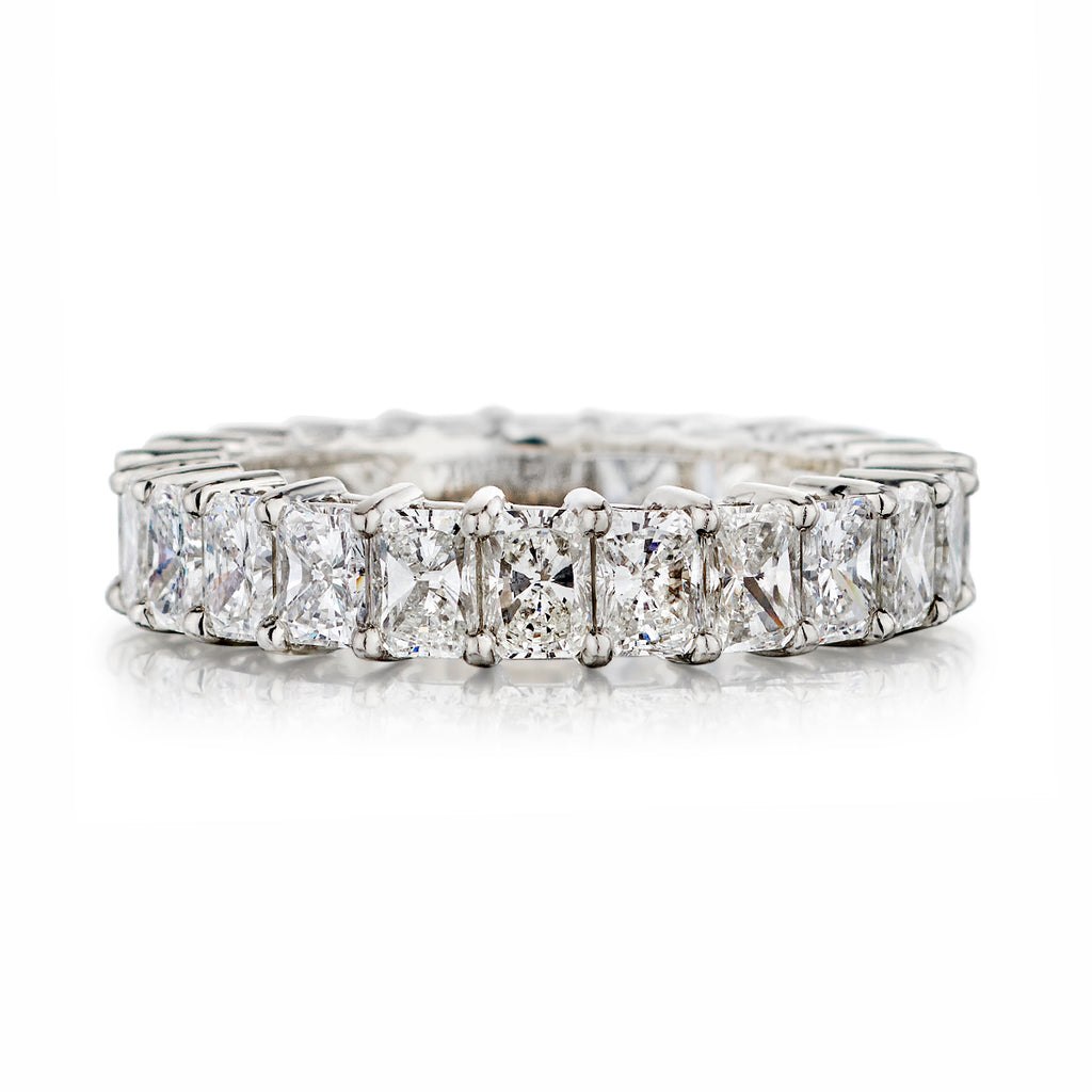 Shared Claw Radiant Cut Diamond Eternity Band