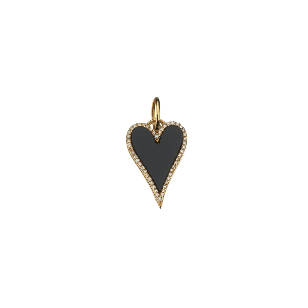 BLACK ONYX & DIAMOND HEART CHARM