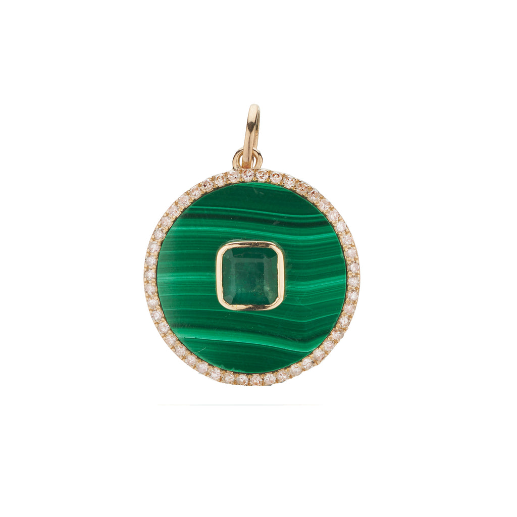 MALACHITE, EMERALD & DIAMOND CHARM