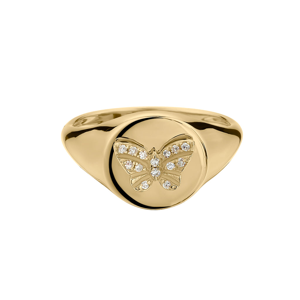 DIAMOND BUTTERFLY PINKY RING