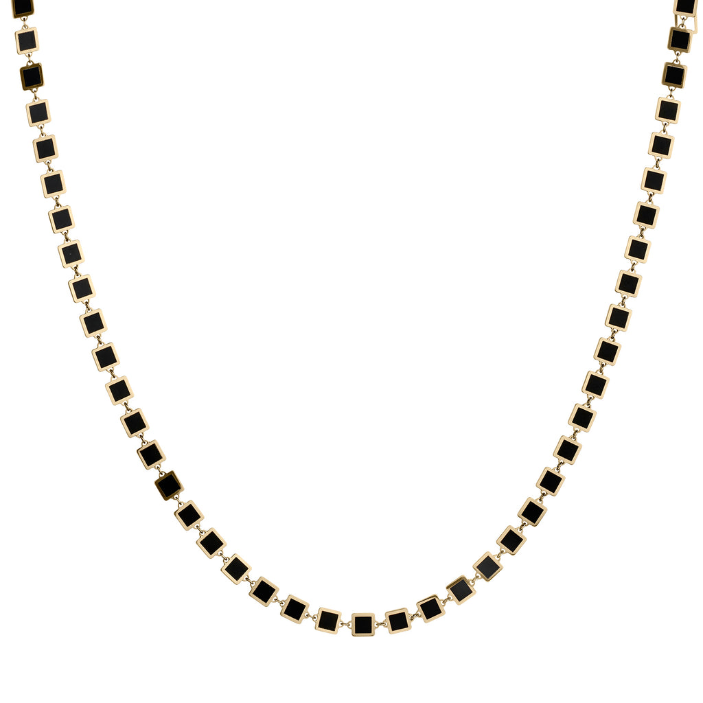 BLACK ONYX SQUARE NECKLACE