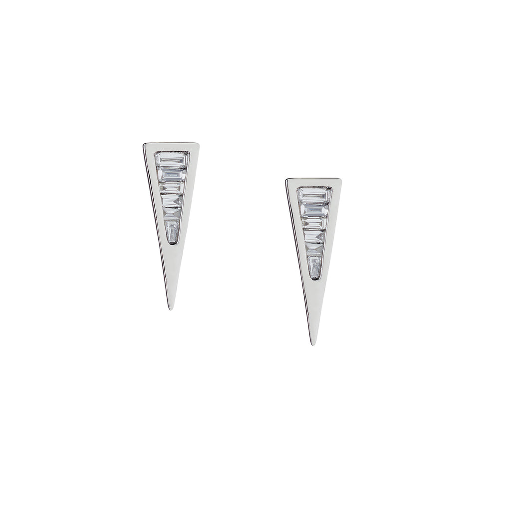 BAGUETTE DIAMOND SPIKE STUDS