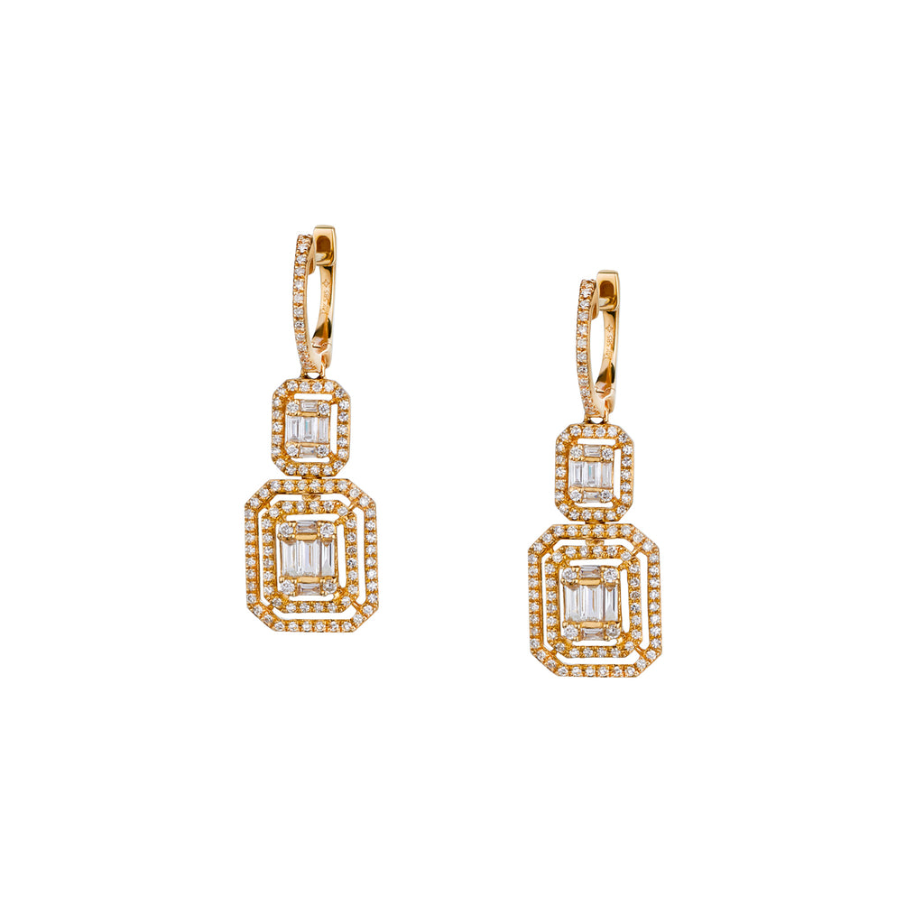 BAGUETTE AND DIAMOND HALO DOUBLE DROP EARRINGS