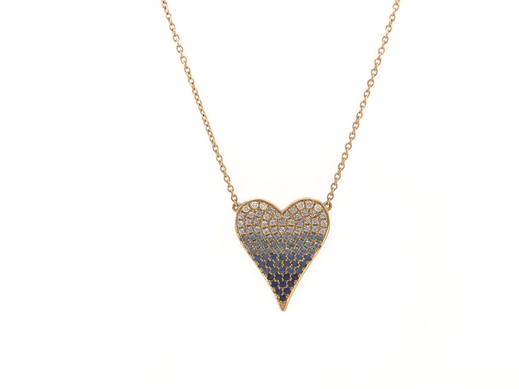 Sapphire and Diamond Ombré Heart