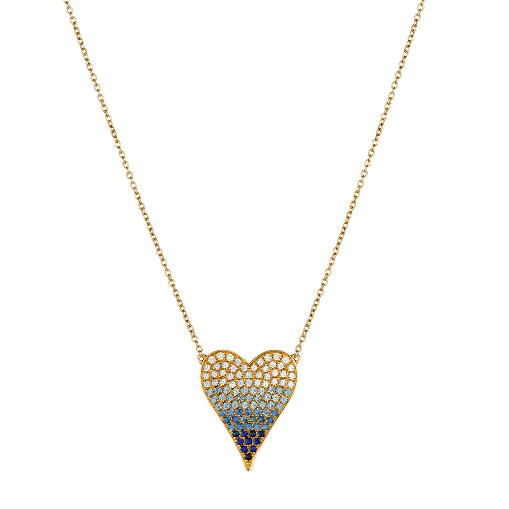 SAPPHIRE AND DIAMOND OMBRÉ PINCHED HEART NECKLACE