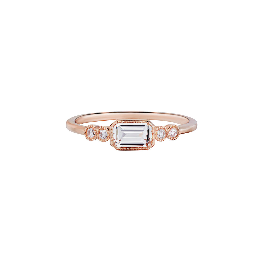 EMERALD CUT WHITE TOPAZ & DIAMOND RING