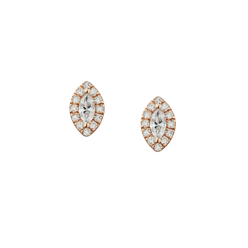 MARQUISE & DIAMOND HALO STUDS