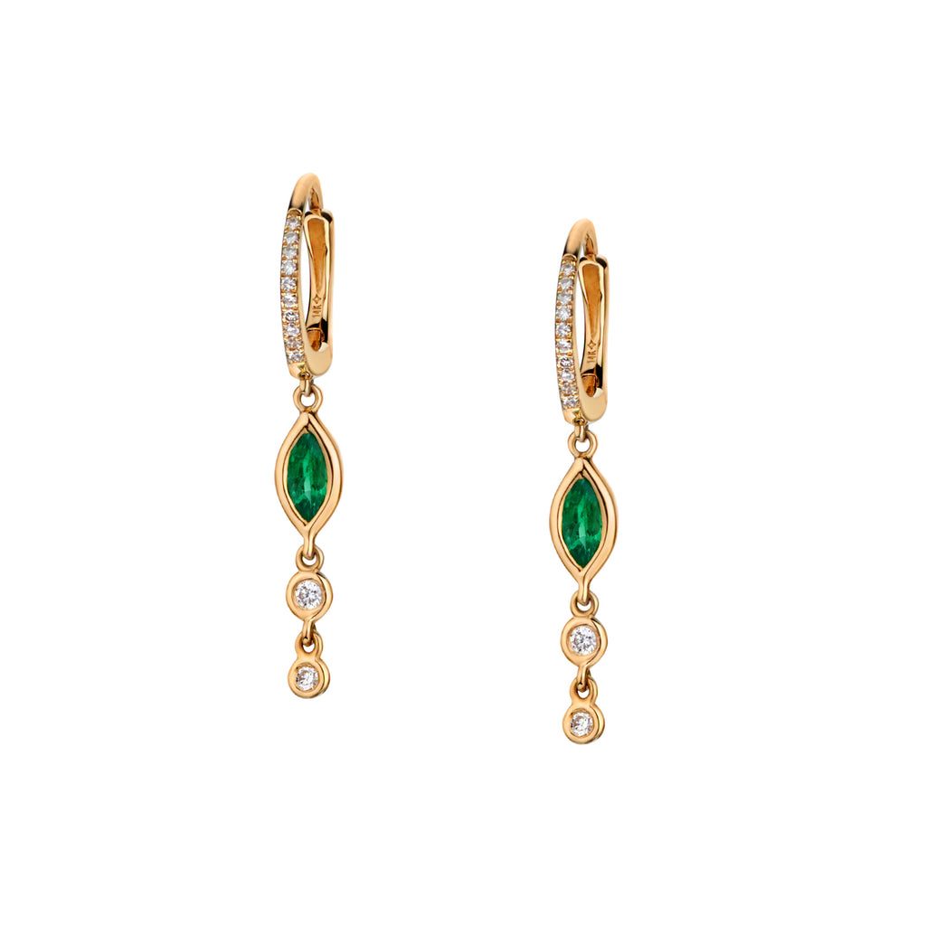 BEZEL SET EMERALD & DIAMOND CHAIN HUGGIE EARRINGS