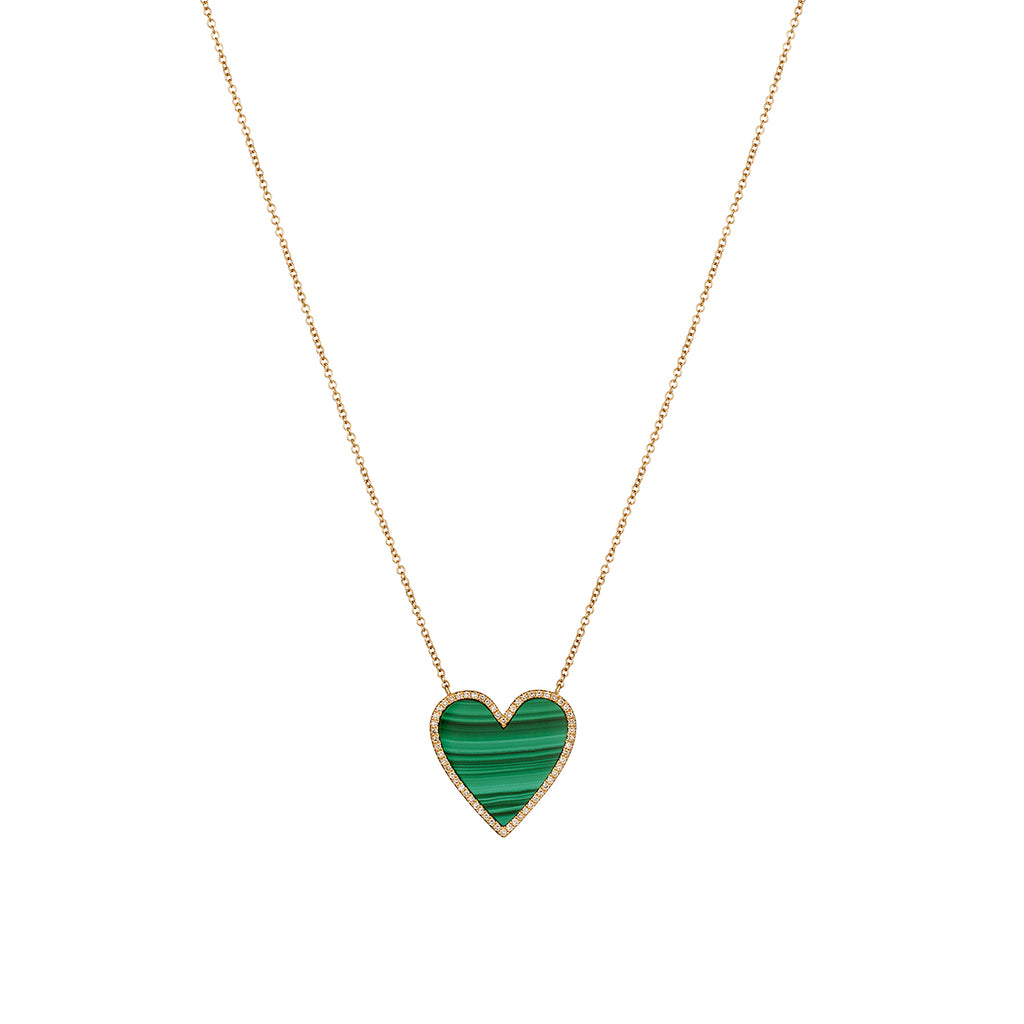 MALACHITE & DIAMOND HEART NECKLACE