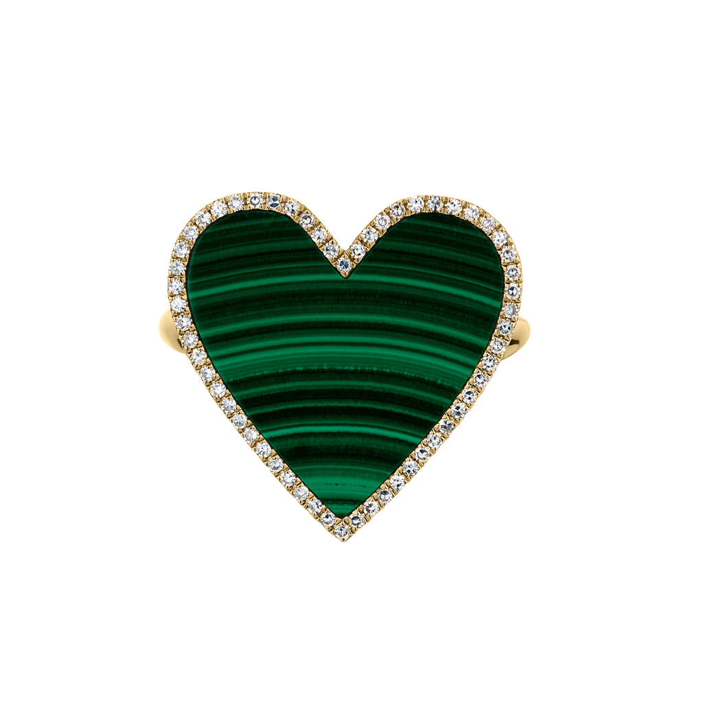 MALACHITE & DIAMOND HEART RING