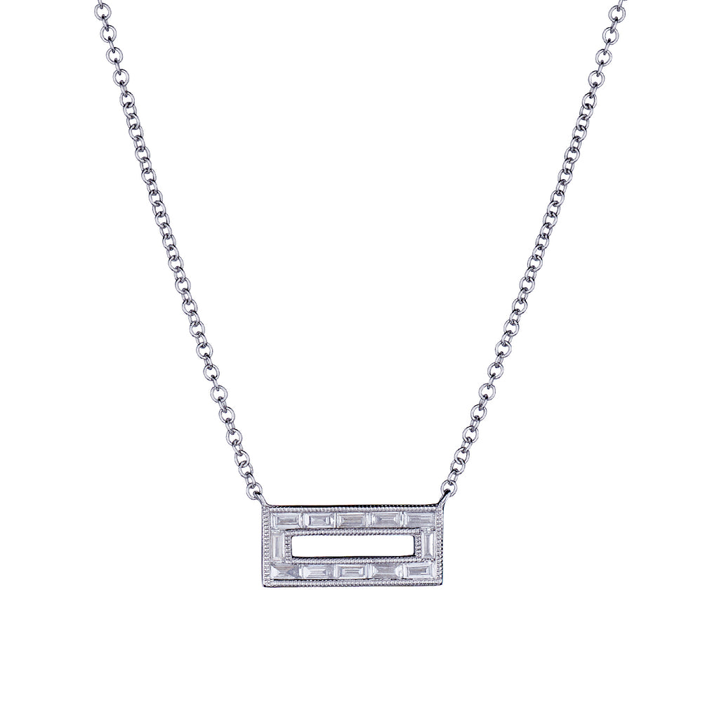 RECTANGULAR BAGUETTE DIAMOND NECKLACE