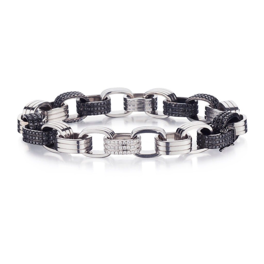 BLACK & WHITE DIAMOND LINK BRACELET