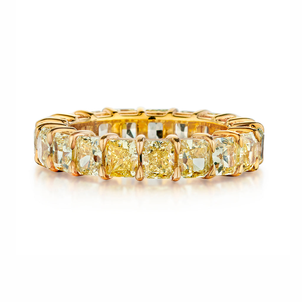 Fancy Yellow Cushion Cut Diamond Band