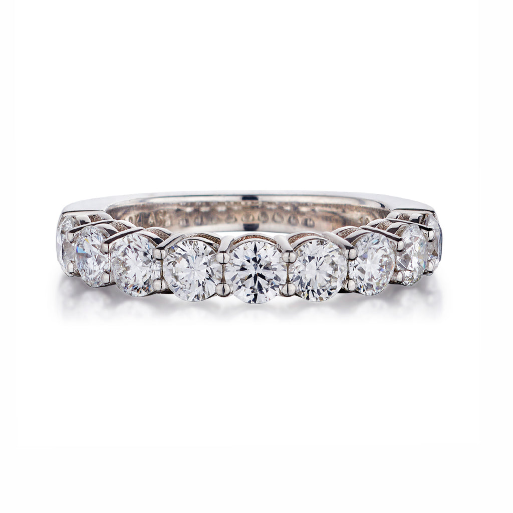 Shared Claw Round Brilliant Cut Diamond Eternity Band