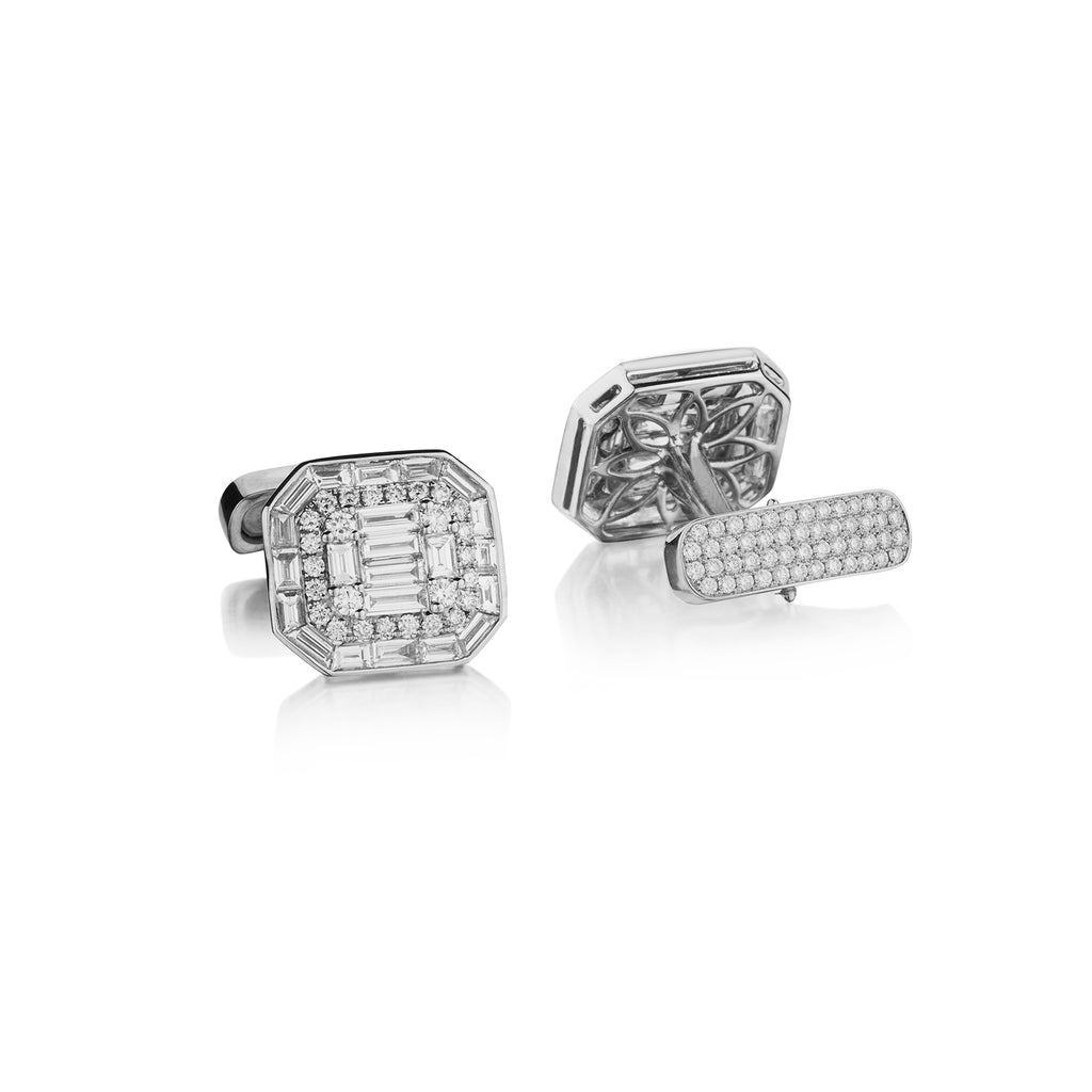 BAGUETTE & ROUND DIAMOND CUFFLINKS