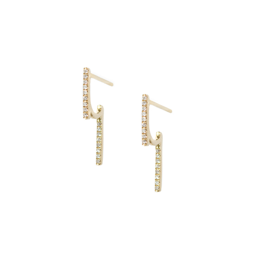 Diamond Double Bar Earrings