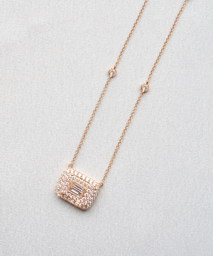 Baguette and Diamond Necklace