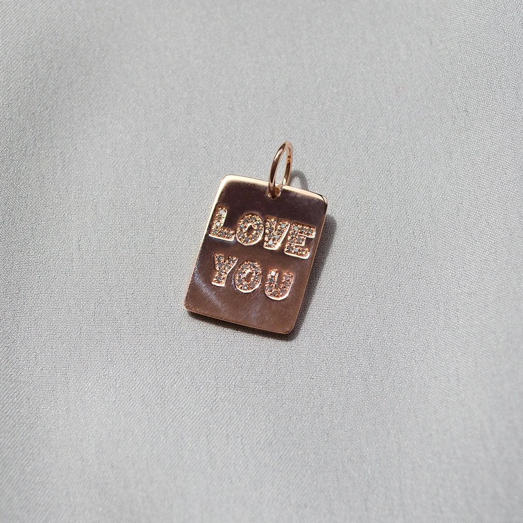 Rose Gold 'Love You' Charm