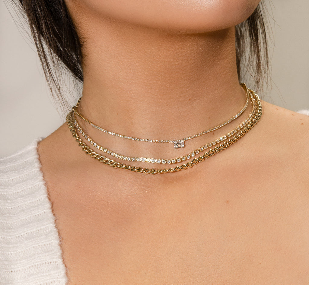 BAGUETTE & ROUND DIAMOND NECKLACE