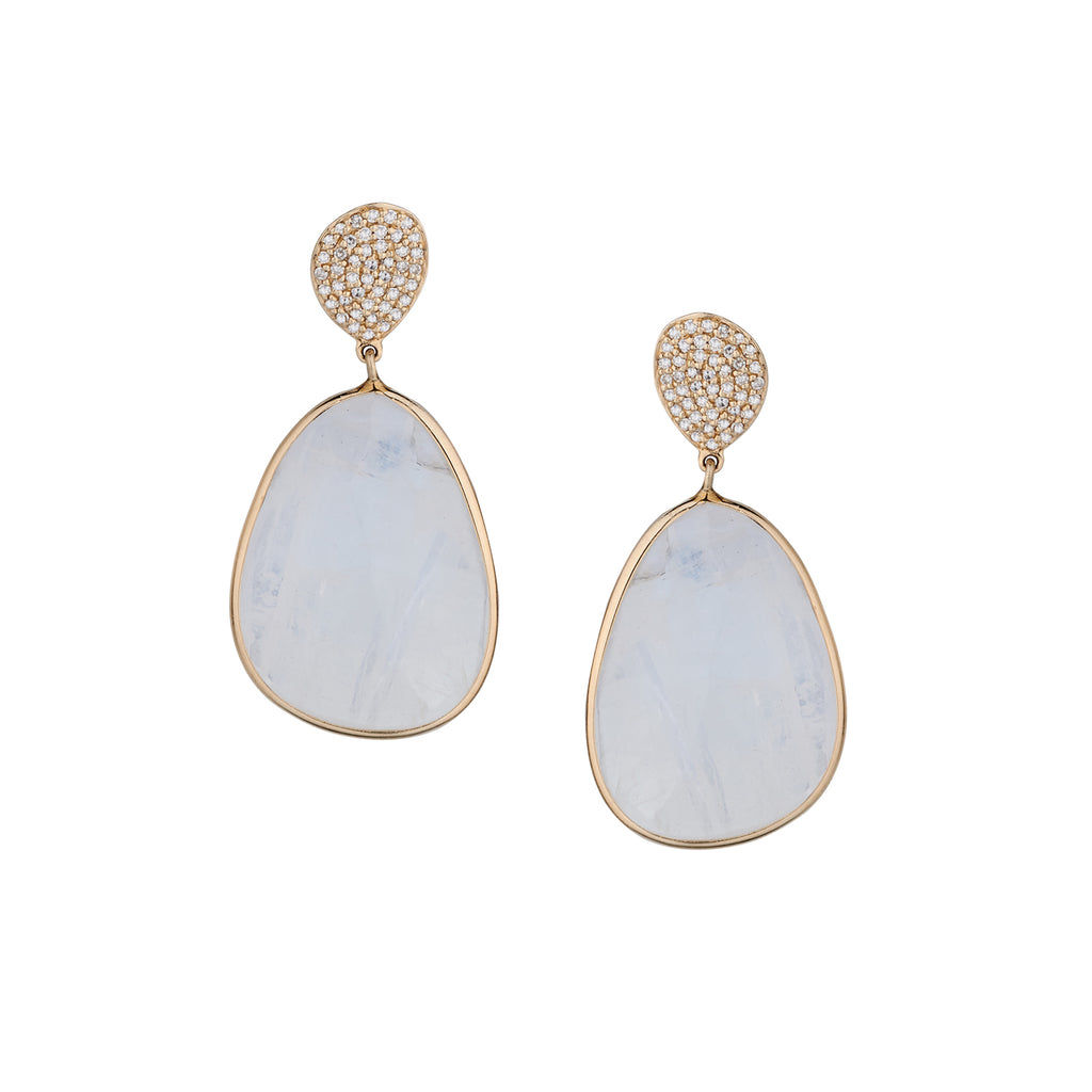PAVÉ DIAMOND & MOONSTONE EARRINGS