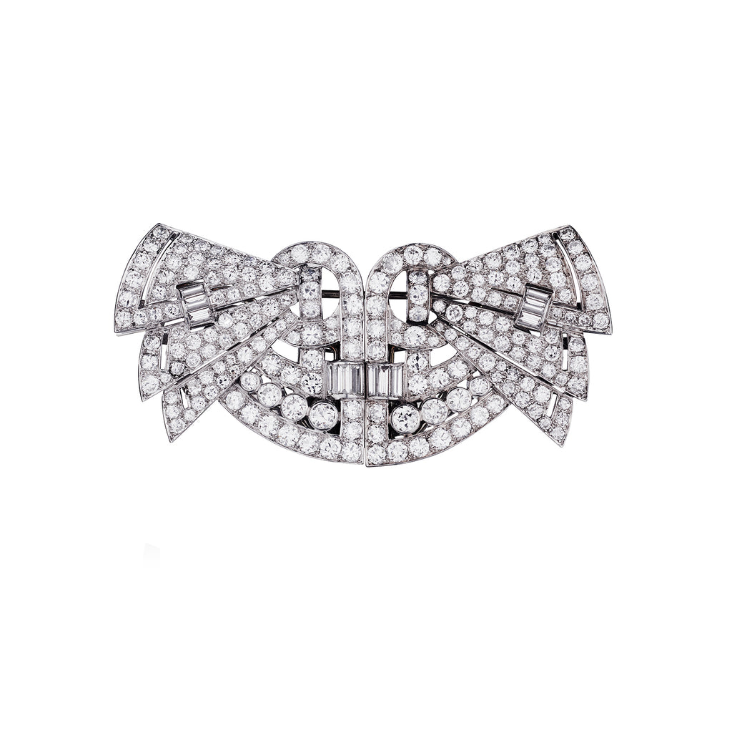 VINTAGE DIAMOND BROOCH/COLLAR CLIPS