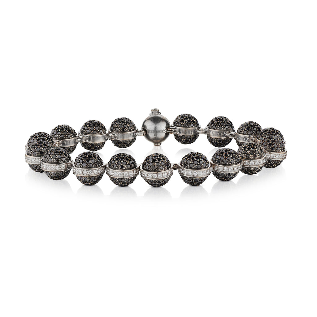 BLACK & WHITE DIAMOND BALL BRACELET