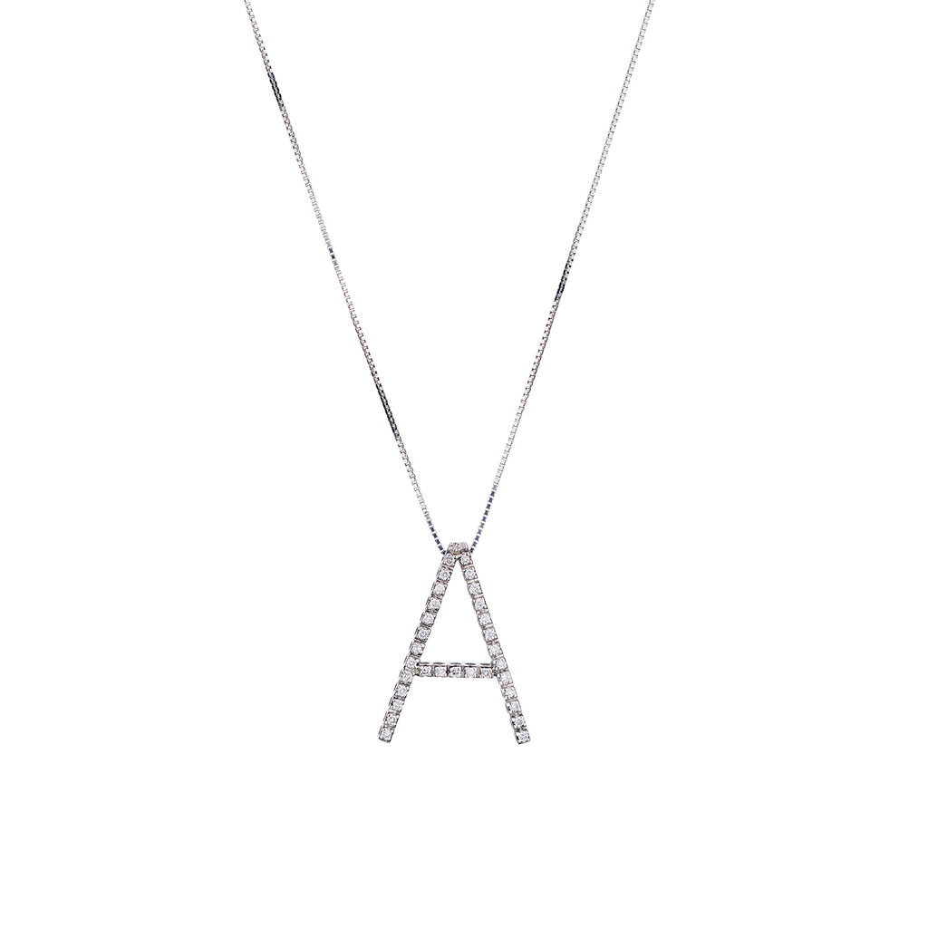 LARGE DIAMOND INITIAL NECKLACE