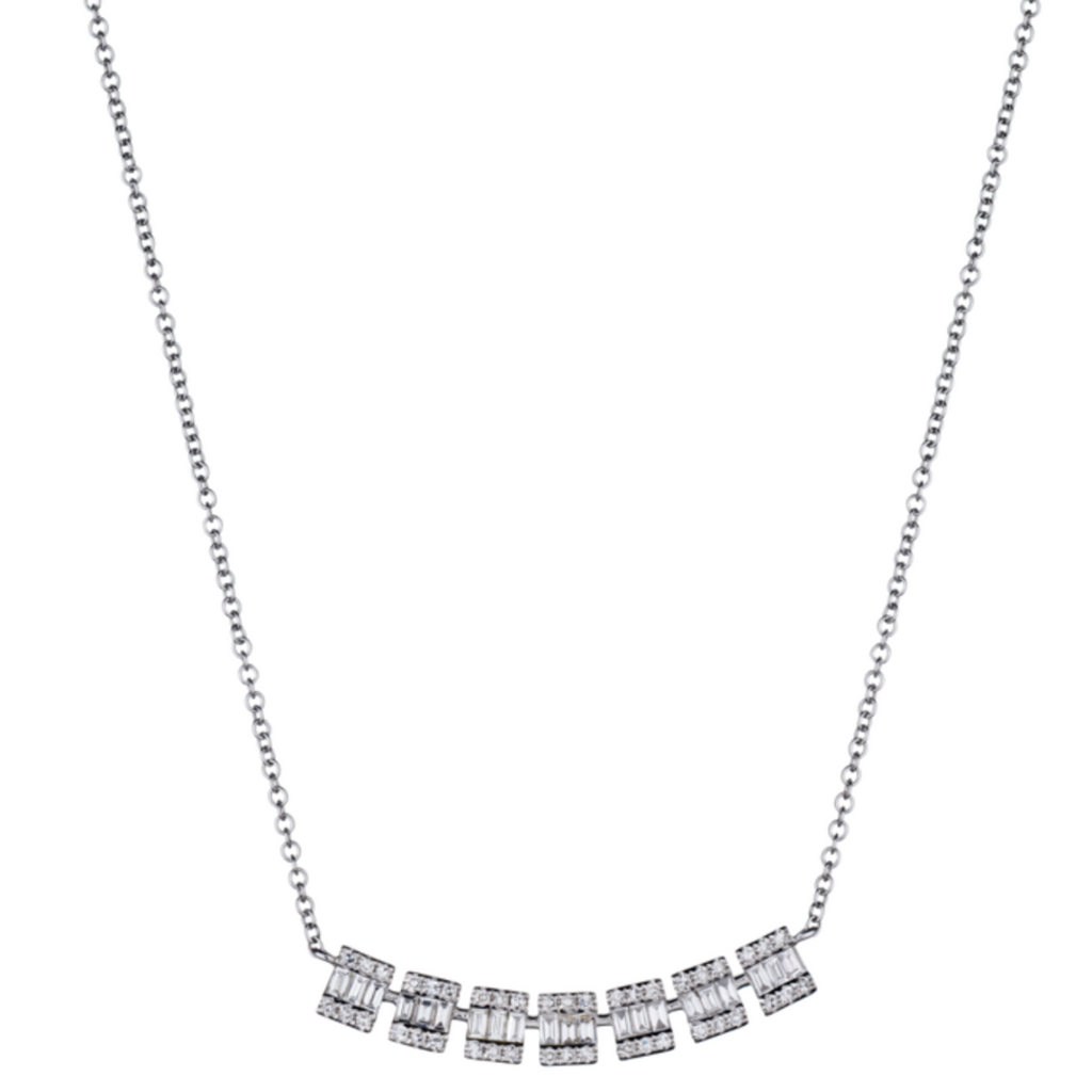 BAGUETTE & DIAMOND ILLUSION SET NECKLACE