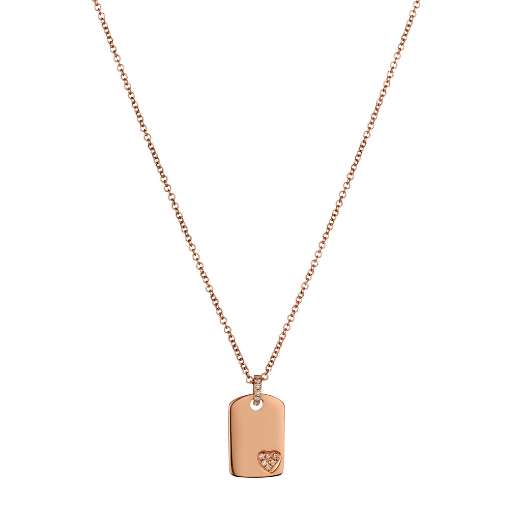 DIAMOND HEART TAG NECKLACE