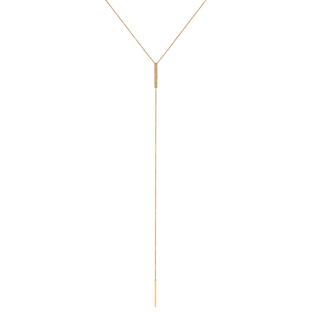 PAVÉ DIAMOND RECTANGULAR BAR LARIAT