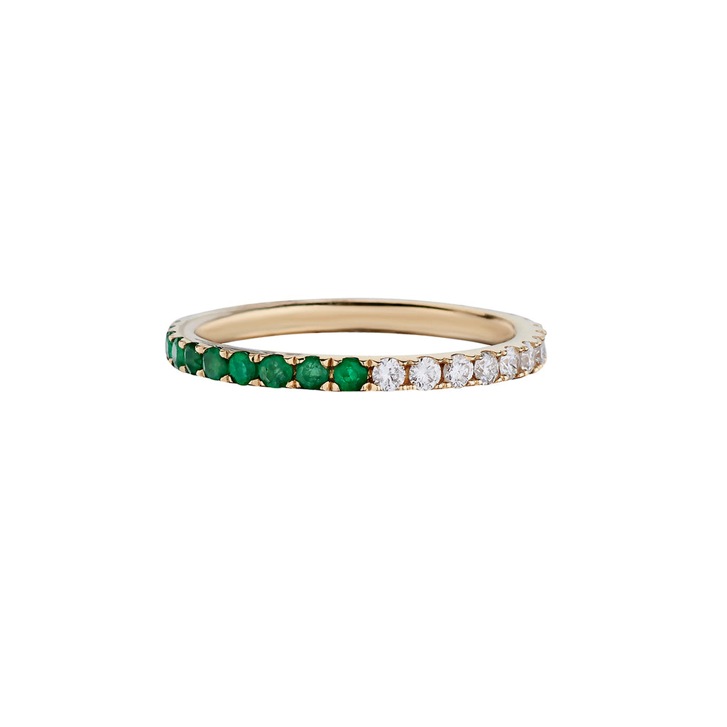 HALF & HALF EMERALD & DIAMOND ETERNITY BAND