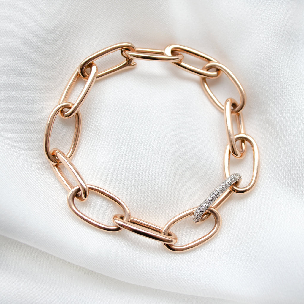 Rose Gold and Diamond Link Bracelet