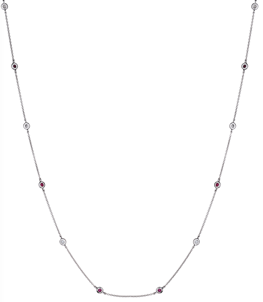 BEZEL SET RUBY DIAMOND NECKLACE