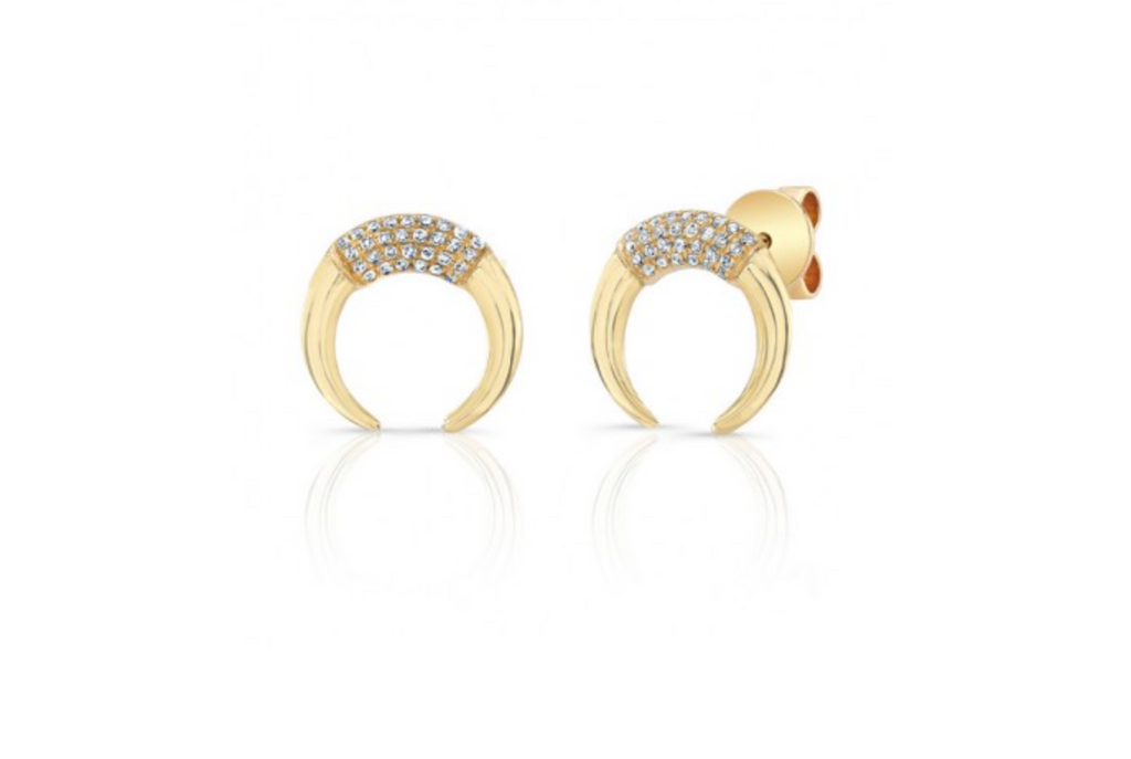 Diamond Crescent Stud Earring