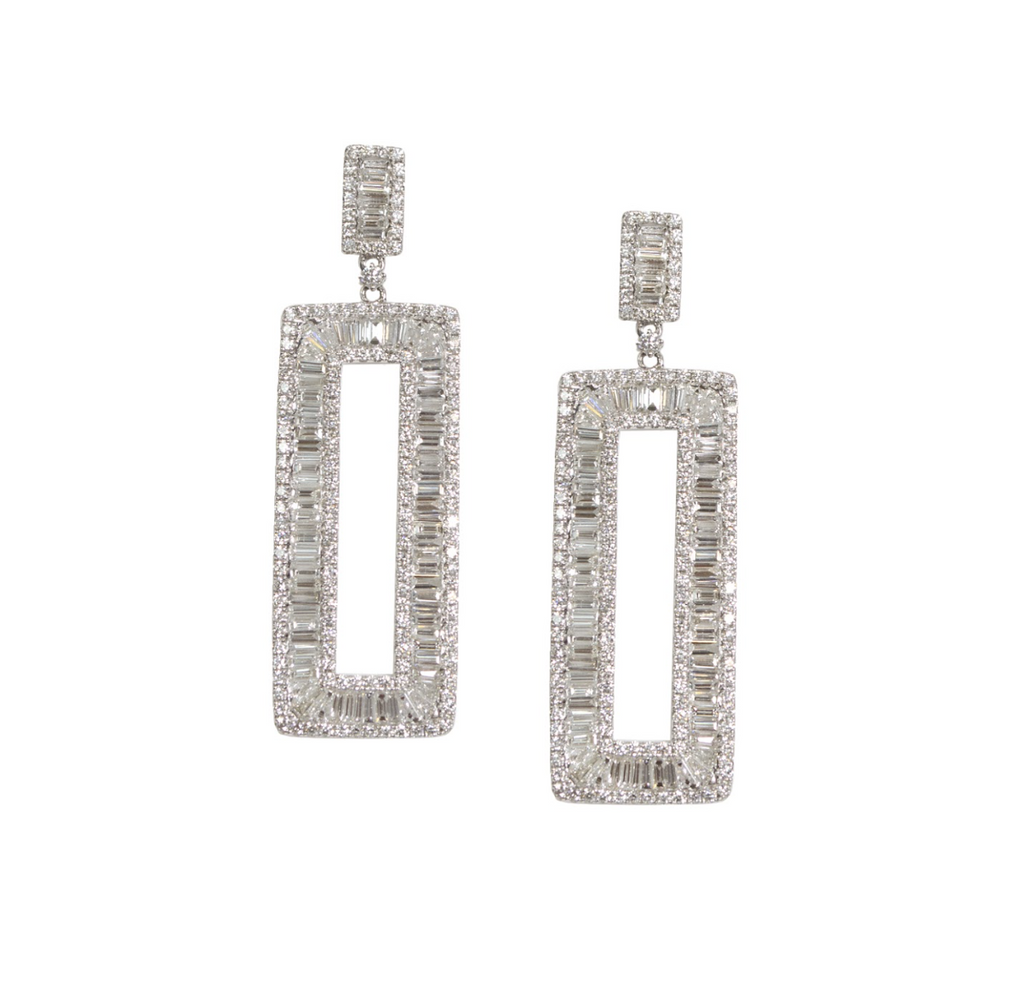 Diamond and Baguette Drop Earrings