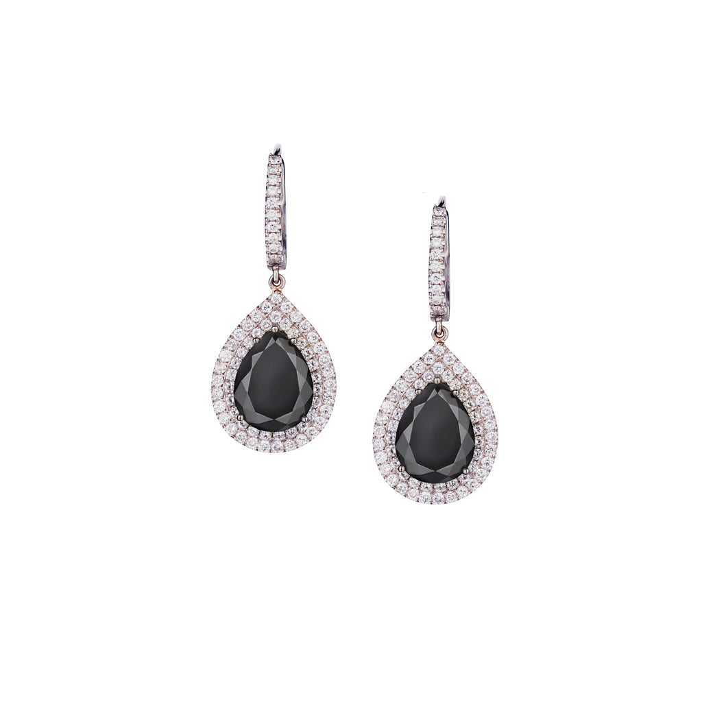BLACK & WHITE DIAMOND TEARDROP EARRINGS