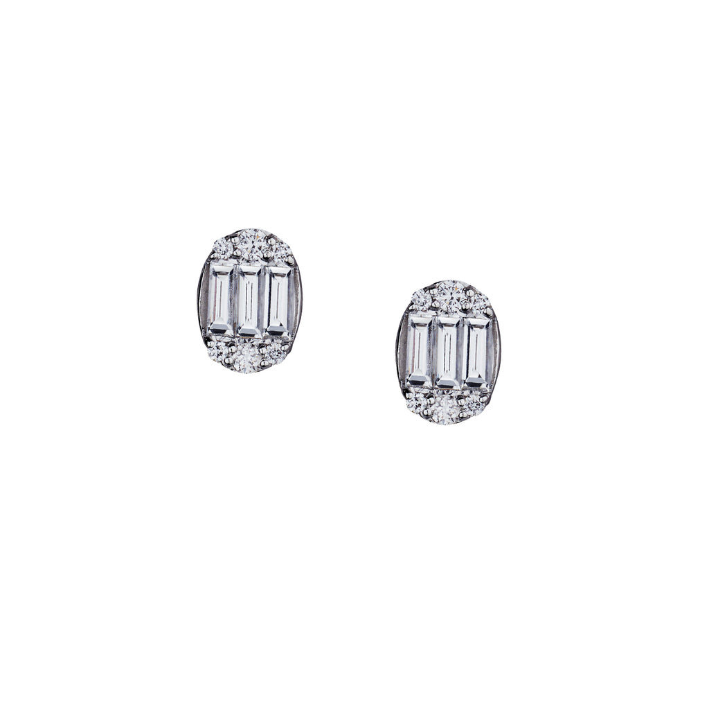BAGUETTE & DIAMOND OVAL STUDS