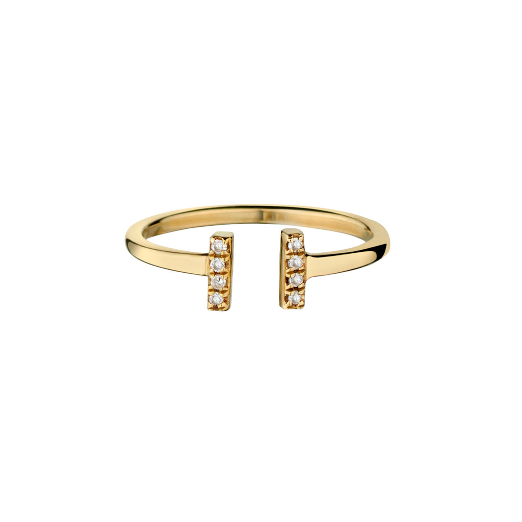 DOUBLE DIAMOND BAR PINKY RING