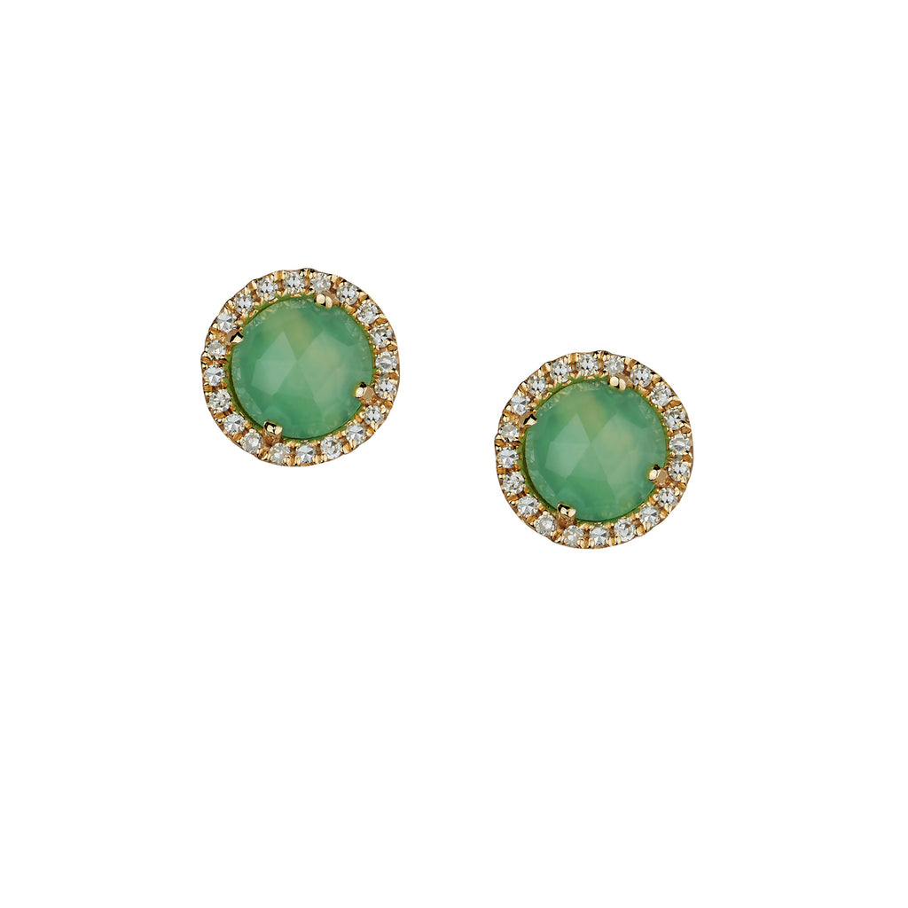 CHRYSOPRASE & DIAMOND HALO STUDS